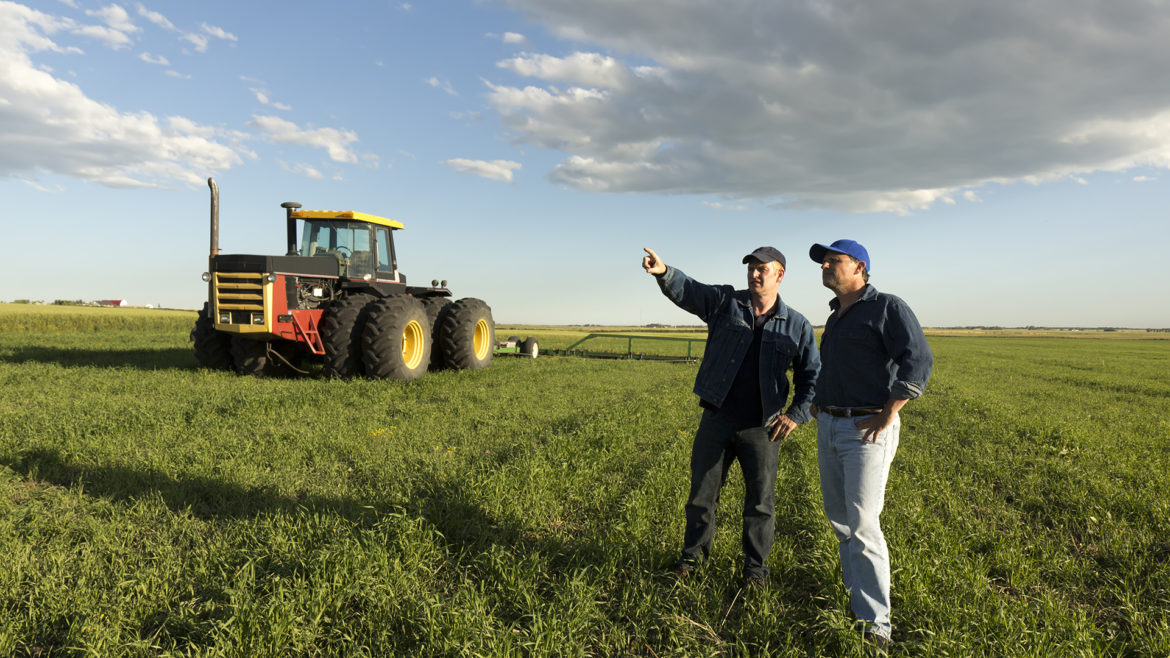 Two farmers in conversation in a field in front of a tractor.